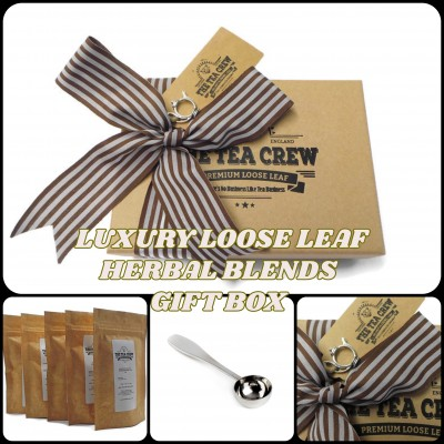 Herbal Tea Lovers Sampler Gift Box Ribbon Wrapped With Gift Tag
